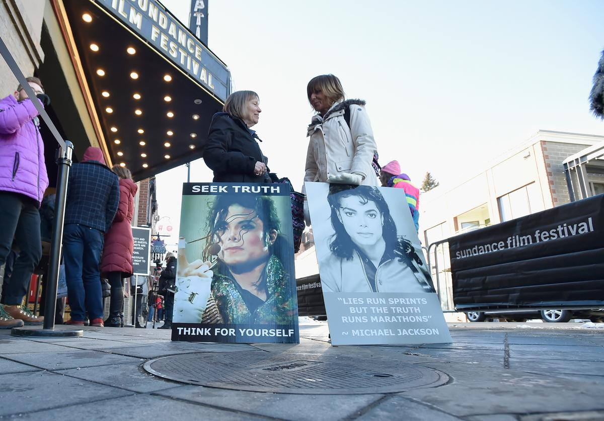 """Protesters outside """"Leaving Neverland"""" screening"""