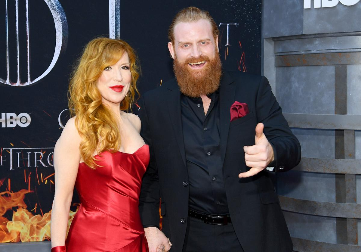 "Gry Molvær Hivju and Kristofer Hivju attend the ""Game Of Thrones"" Season 8 Premiere on April 03, 2019 in New York City."