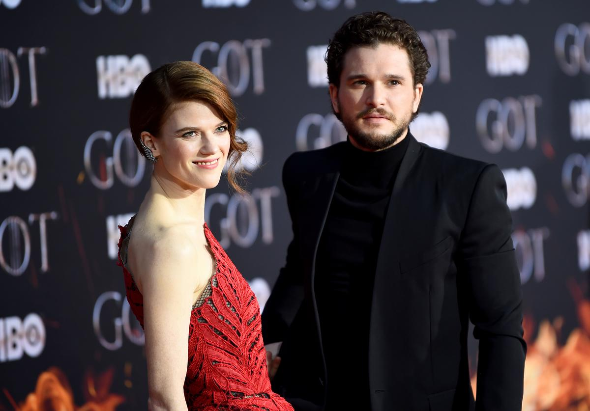 "Rose Leslie and Kit Harington attend the ""Game Of Thrones"" Season 8 Premiere on April 03, 2019 in New York City."