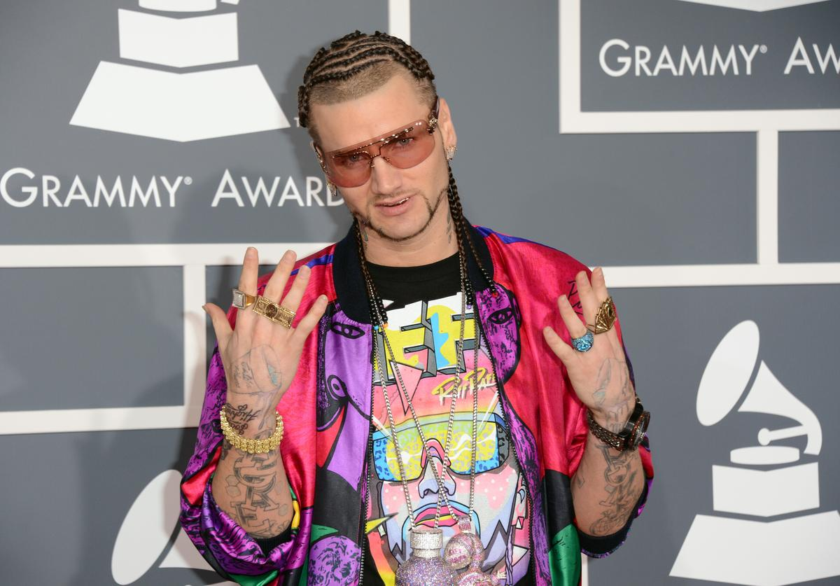 Rapper Riff Raff arrives at the 55th Annual GRAMMY Awards at Staples Center on February 10, 2013 in Los Angeles, California.