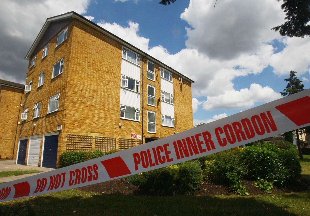 The cordoned-off scene of the murder of 16 year old Shakilus Townsend at Thornton Heath on July 4, 2008 in Croydon, south London, England.