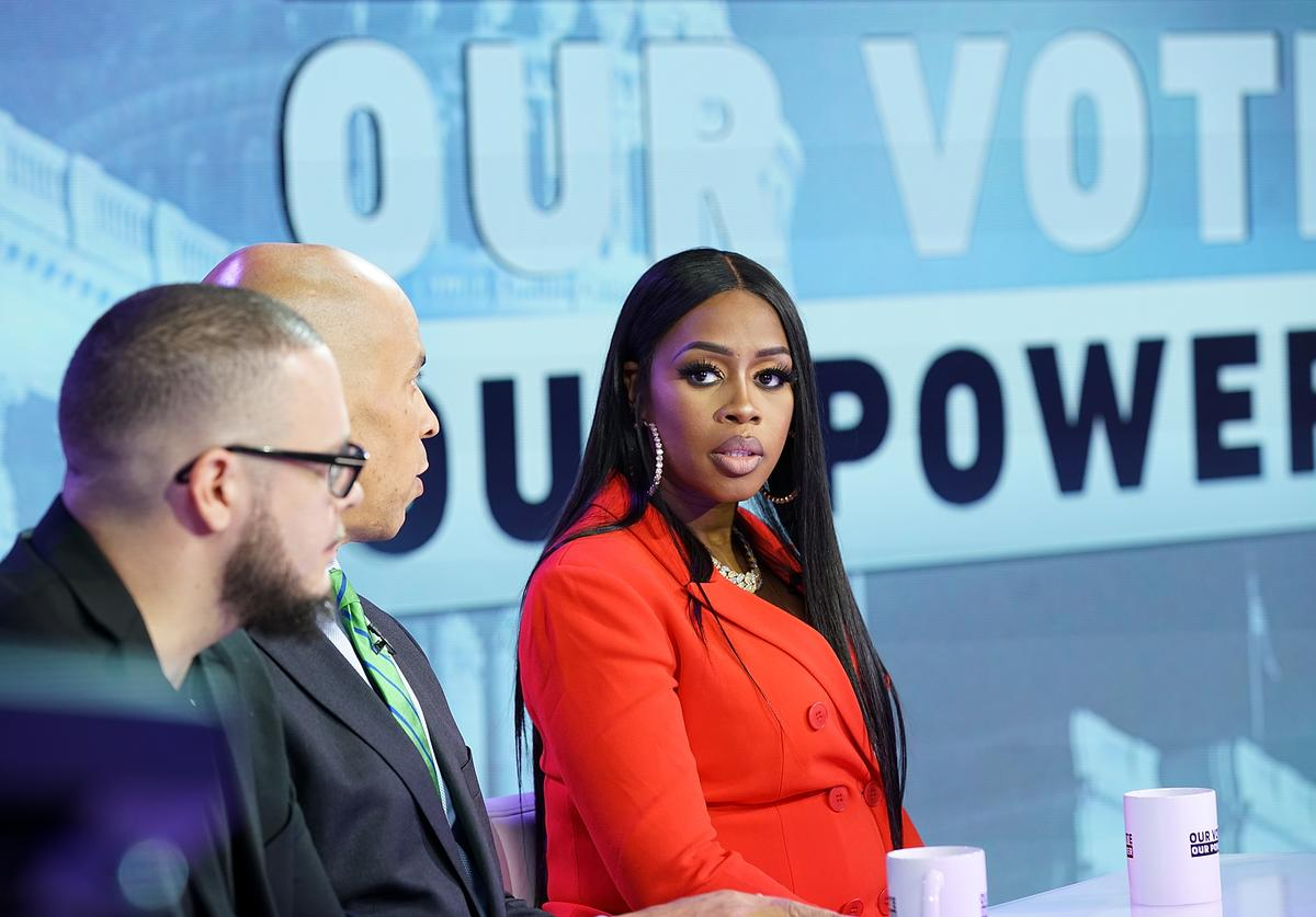 "Recording artist Remy Ma (C) attends the ""Our Vote, Our Power"""