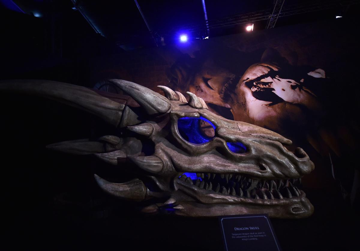 Dragon skulls can be seen on display at the Game Of Thrones: The Touring Exhibition press launch