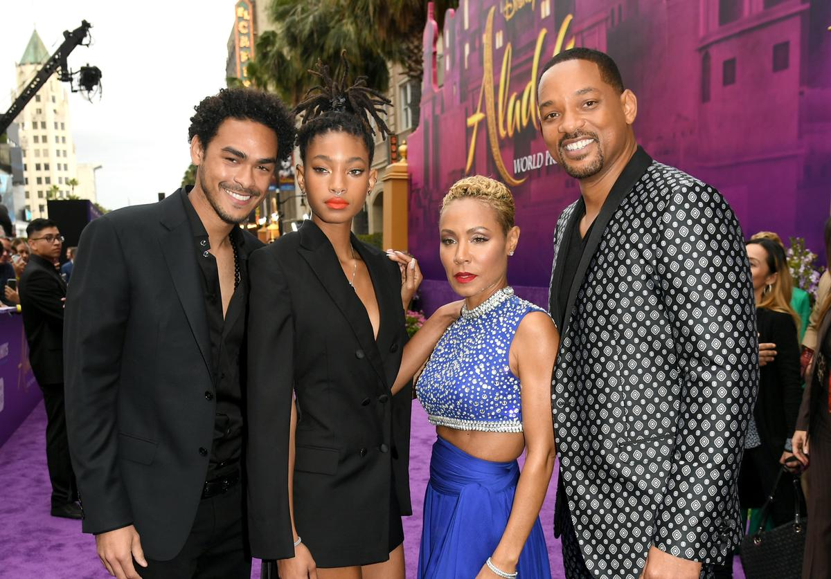 """Trey Smith, Willow Smith, Jada Pinkett Smith and Will Smith arrive at the premiere of Disney's """"Aladdin"""" at the El Capitan Theater on May 21, 2019 in Los Angeles, California."""