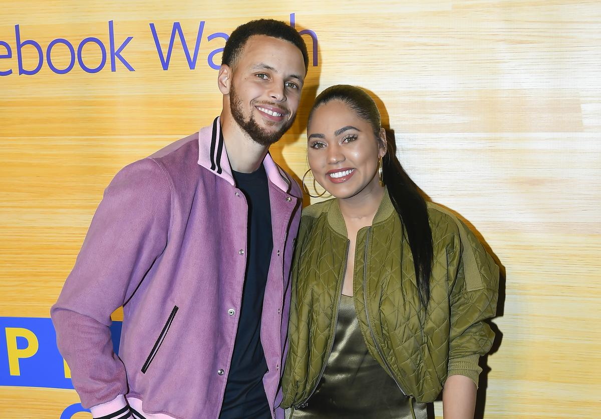 "Stephen Curry of the Golden State Warriors and Ayesha Curry attend the ""Stephen Vs The Game"" Facebook Watch Preview at 16th Street Station on April 1, 2019 in Oakland, California"