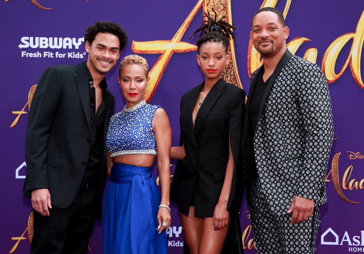 "Trey Smith, Jada Pinkett Smith, Willow Smith, and Will Smith attend the premiere of Disney's ""Aladdin"" on May 21, 2019 in Los Angeles, California."