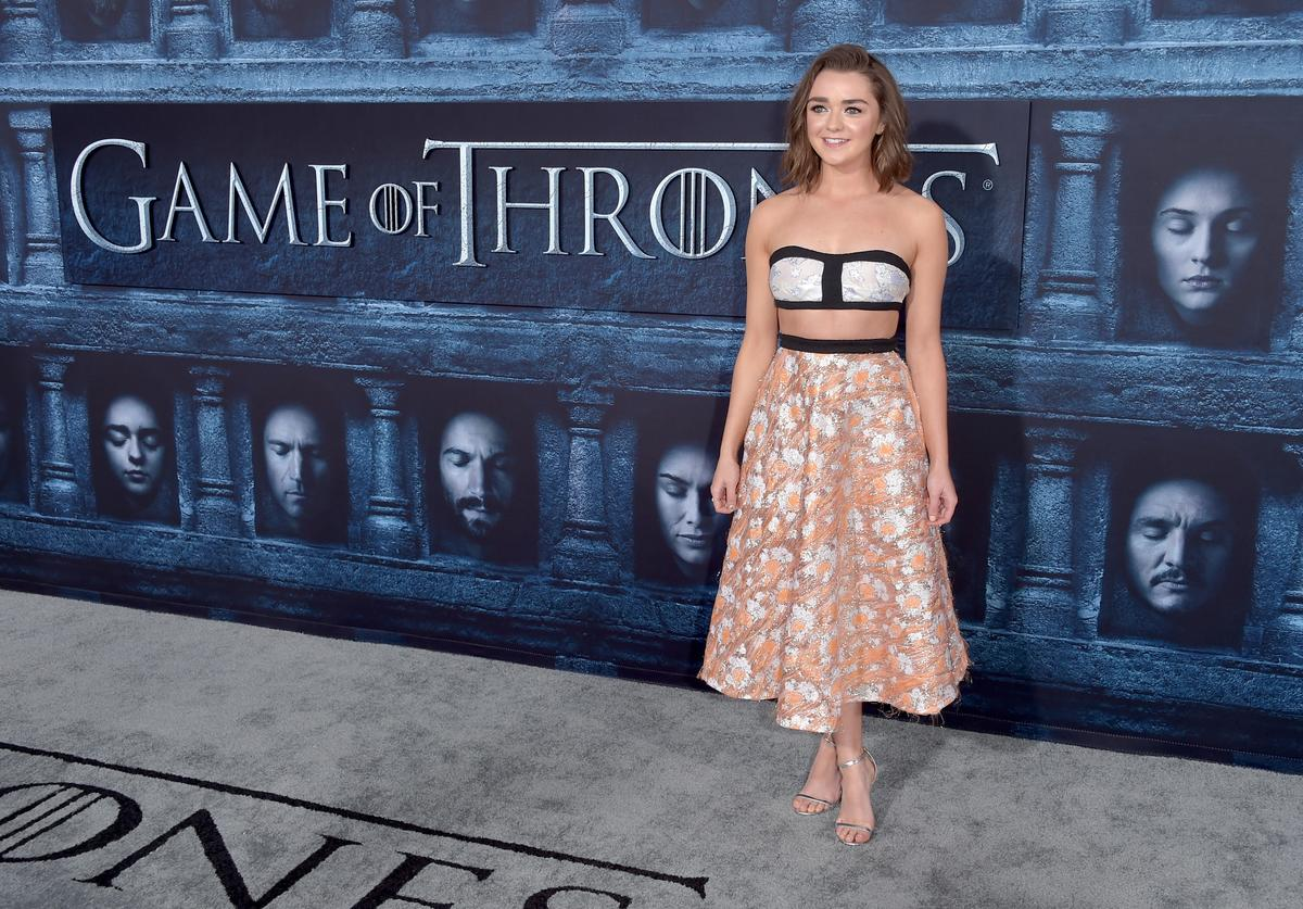 """ctress Maisie Williams attends the premiere of HBO's """"Game Of Thrones"""" Season 6 at TCL Chinese Theatre"""
