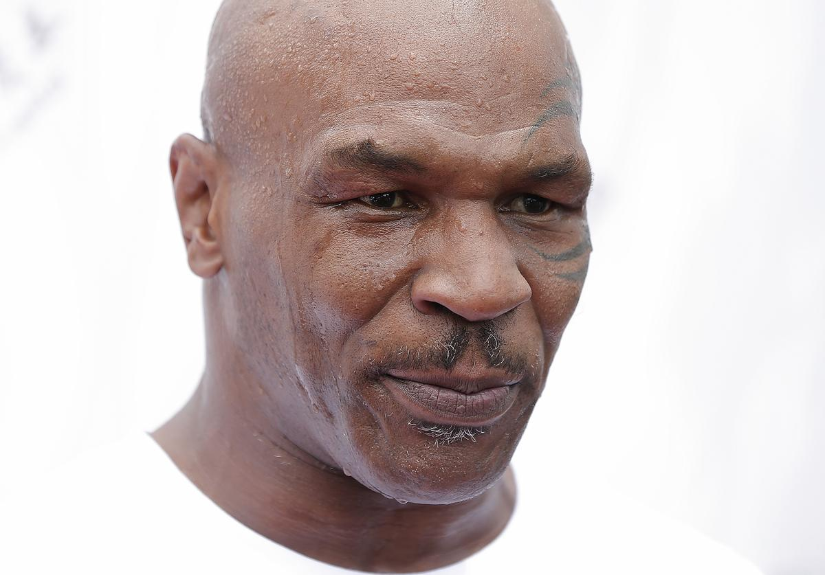 Mike Tyson attends the Great Wall Weigh-in of IBF World Boxing Championship Bout at Mutianyu on May 24, 2016 in Beijing, China