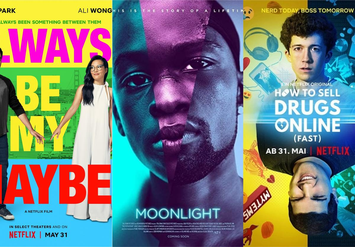 """Official posters for """"Always Be My Maybe,"""" """"Moonlight"""" and """"How to Sell Drugs Online (Fast)"""""""