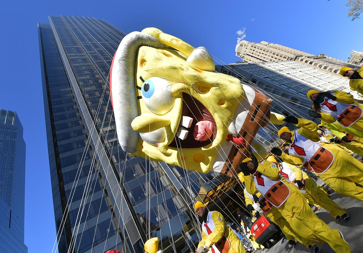 The SpongeBob SquarePants balloon floats along the parade route during the 2018 Macy's Thanksgiving Day