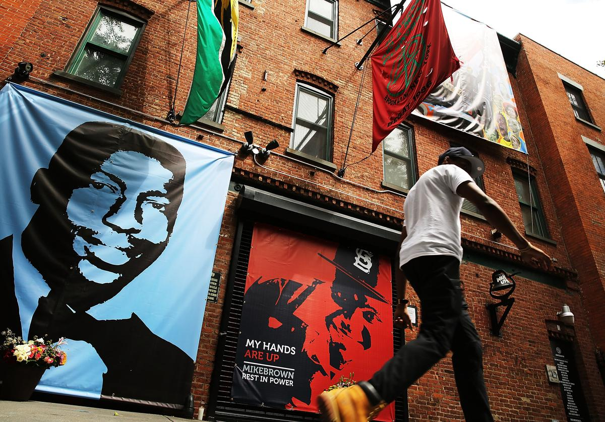 A memorial of Michael Brown, 18, next to the one of Eric Garner