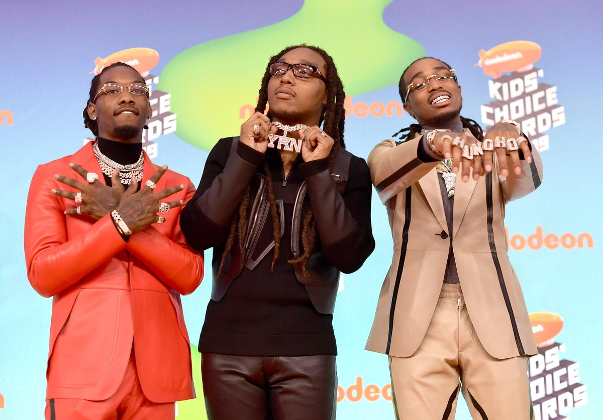 Offset, Takeoff and Quavo of Migos attend Nickelodeon's 2019 Kids' Choice Awards at Galen Center on March 23, 2019 in Los Angeles, California