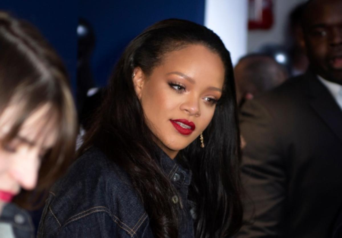 Rihanna surprises her fans at the opening of the FENTY Pop Up Store on May 24, 2019 in Paris, France.