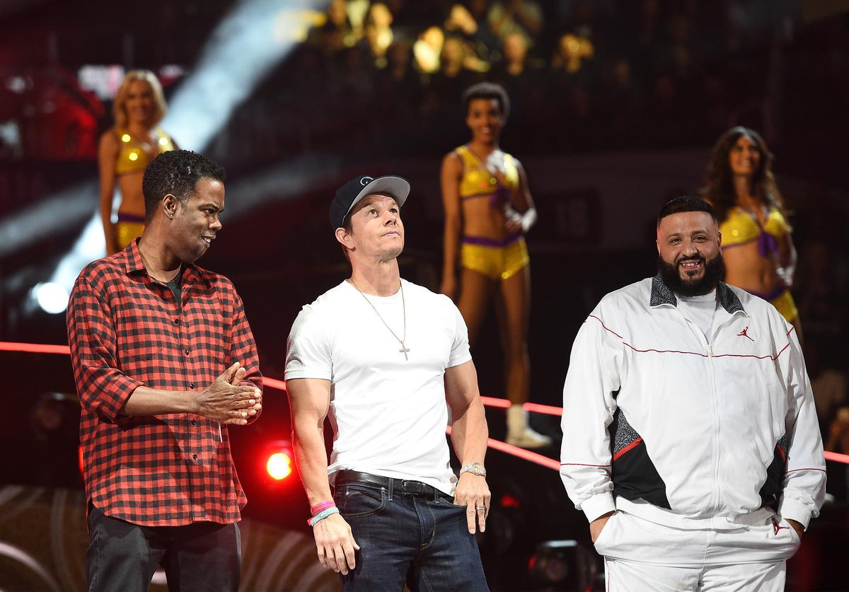 Chris Rock, Mark Wahlberg and DJ Khaled speak onstage during the 2018 JBL Three-Point Contest at Staples Center on February 17, 2018 in Los Angeles, California