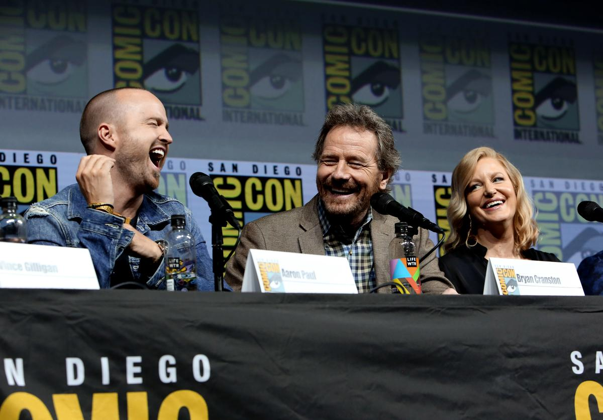 "Aaron Paul, Bryan Cranston and Anna Gunn speak onstage during the ""Breaking Bad"" 10th Anniversary Celebration during Comic-Con International"