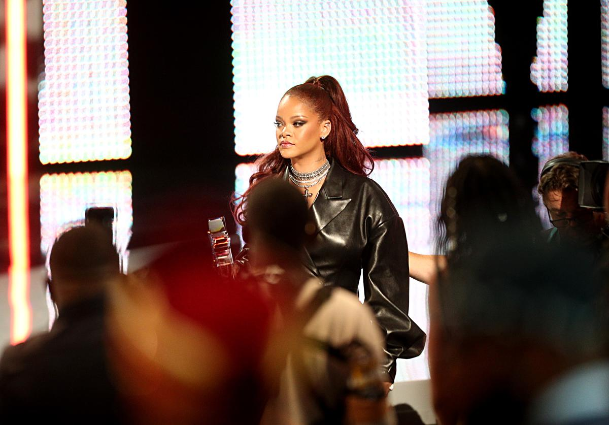 Rihanna speaks onstage at the 2019 BET Awards at Microsoft Theater on June 23, 2019 in Los Angeles, California