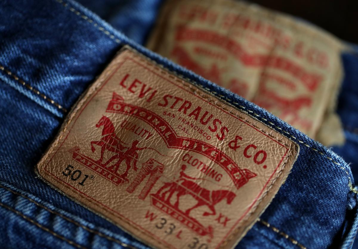 The Levi's logo is displayed on Levi's 501 jeans on February 13, 2019 in San Francisco, California.