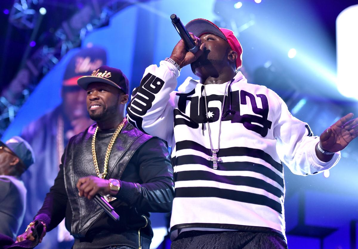Curtis '50 Cent' Jackson (L) and Young Buck of the music group G-Unit perform onstage during the 2014 iHeartRadio Music Festival at the MGM Grand Garden Arena on September 20, 2014 in Las Vegas, Nevada