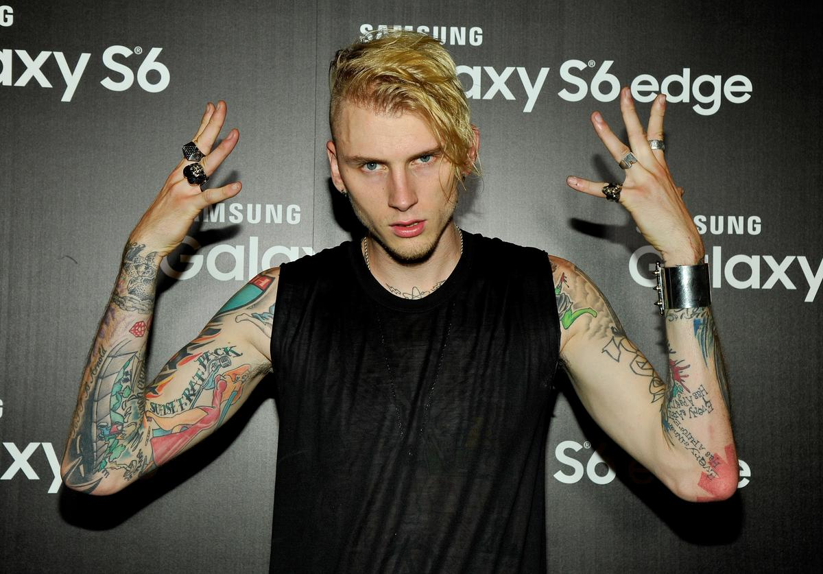 Rapper Machine Gun Kelly attends the Machine Gun Kelly Album Listening Party at the Samsung Studio LA