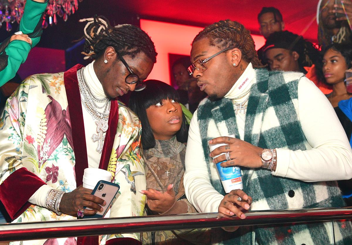 """Young Thug, Ebonie Ward and Gunna attend Gunna """"Drip or Drown 2"""" album release party at Compound on February 24, 2019 in Atlanta, Georgia"""