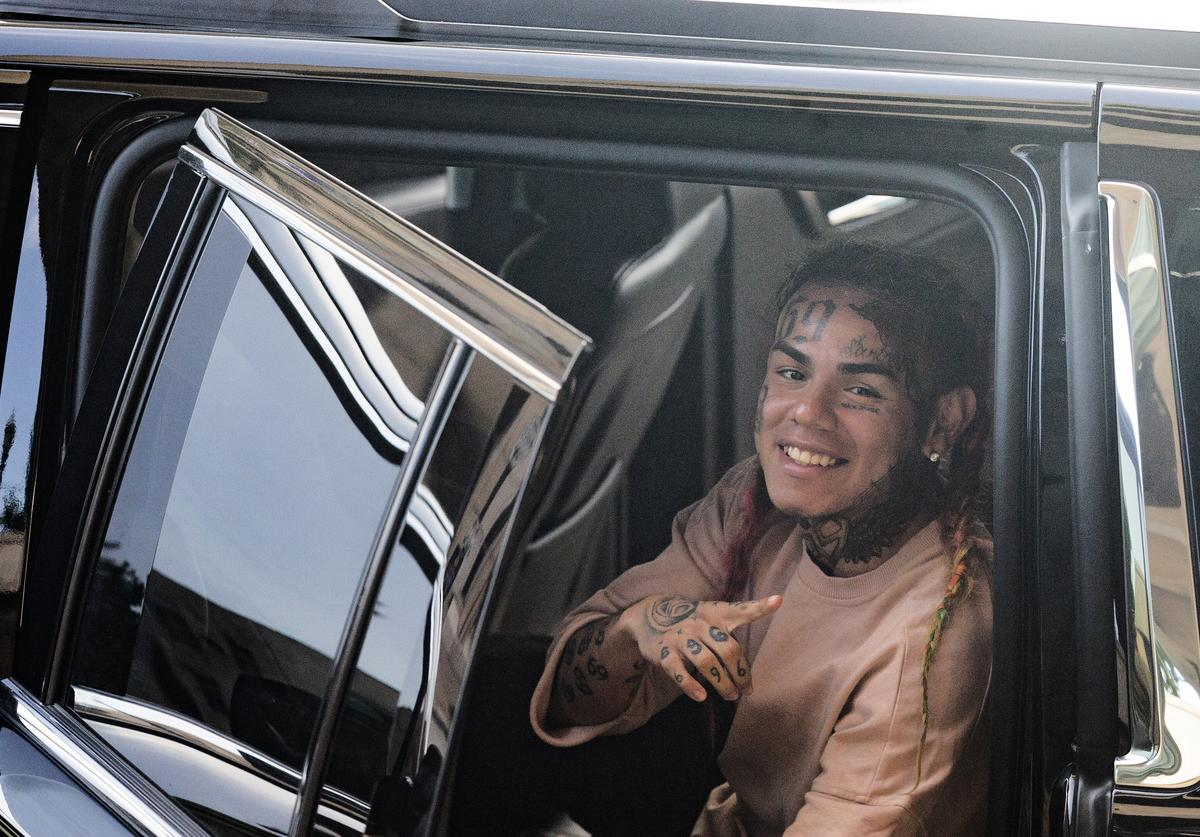Tekashi 69, leaves after his arraignment on assault charges in County Criminal Court #1 at the Harris County Courthouse on August 22, 2018 in Houston, Texas