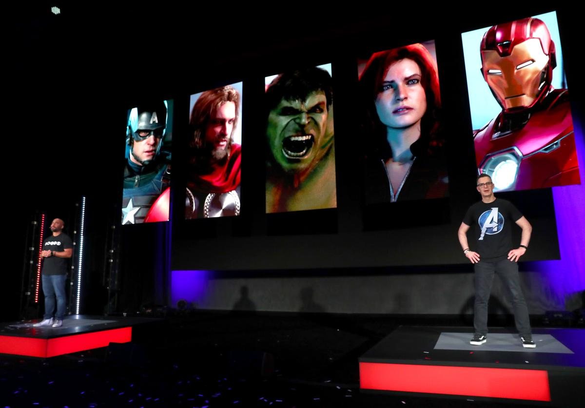 Crystal Dynamics' Creative Director Shaun Escayg and Marvel Games' Vice President & Creative Director Bill Rosemann unveil Marvel's Avengers game content during Square Enix Live E3 2019 in downtown Los Angeles on Monday, June 10, 2019.