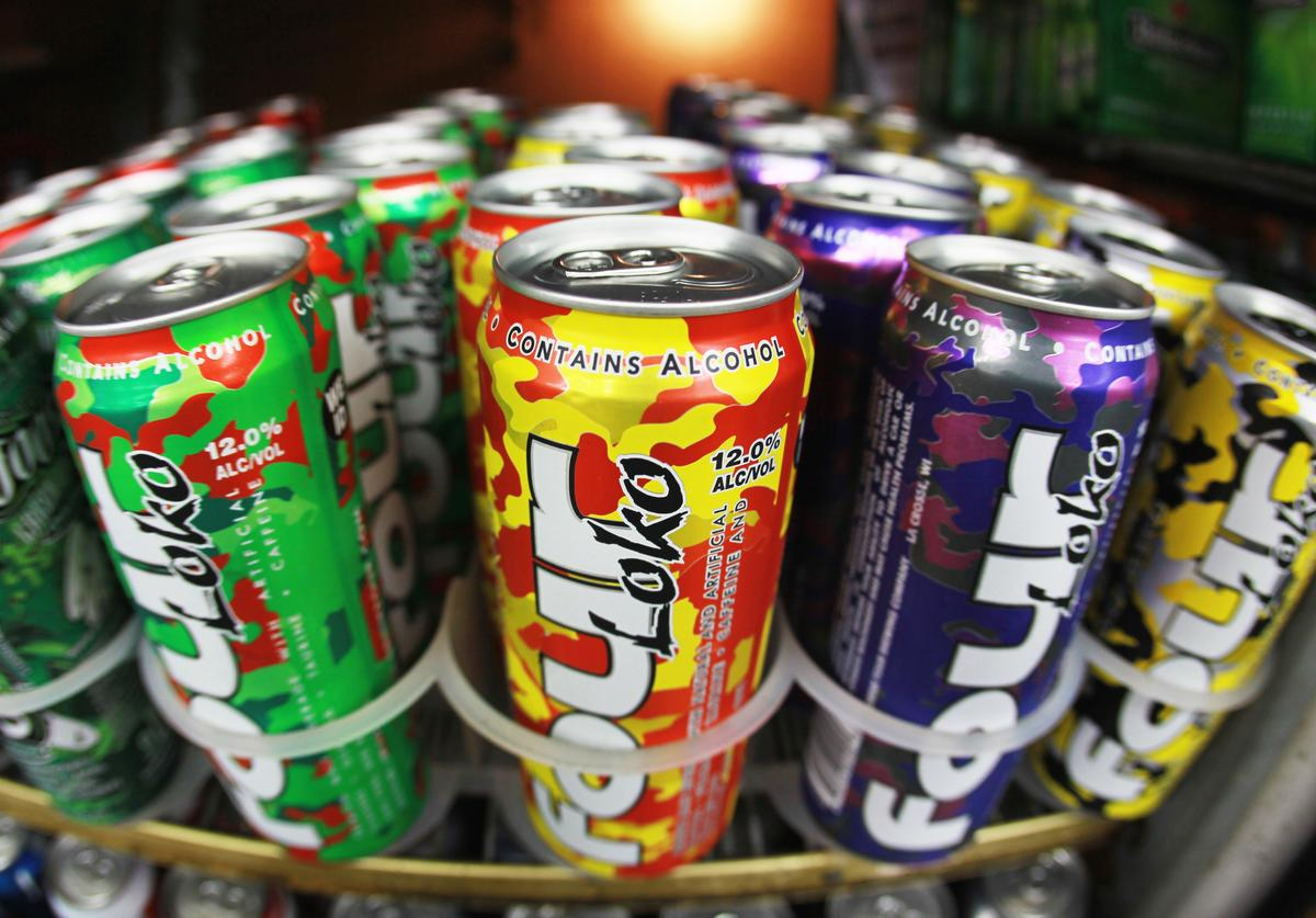 Cans of Four Loko are seen in the liquor department of a Kwik Stop store on October 27, 2010 in Miami, Florida. The Food and Drug Administration is reviewing whether the drinks are safe for consumers after complaints that the fruit flavored malt beverage keeps consumers from realizing how intoxicated they are leading to possible alcohol poisoning.