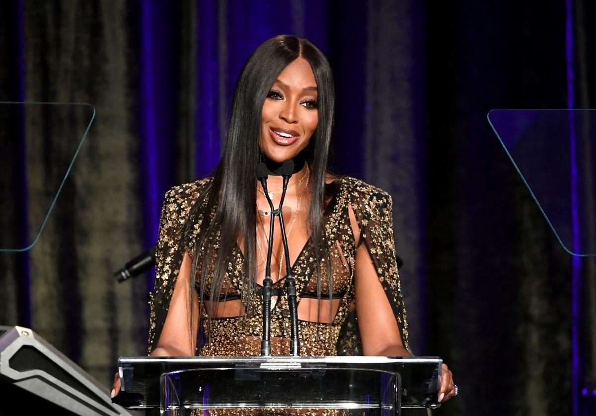 Naomi Campbell speaks onstage at the American Icon Awards at the Beverly Wilshire Four Seasons Hotel on May 19, 2019 in Beverly Hills, California