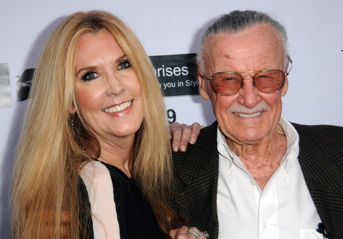 """Comic book Icon Stan Lee and daughter JC Lee arrive for the Premiere Of """"With Great Power: The Stan Lee Story"""" held at iPic Theaters on April 19, 2012 in Pasadena, California."""