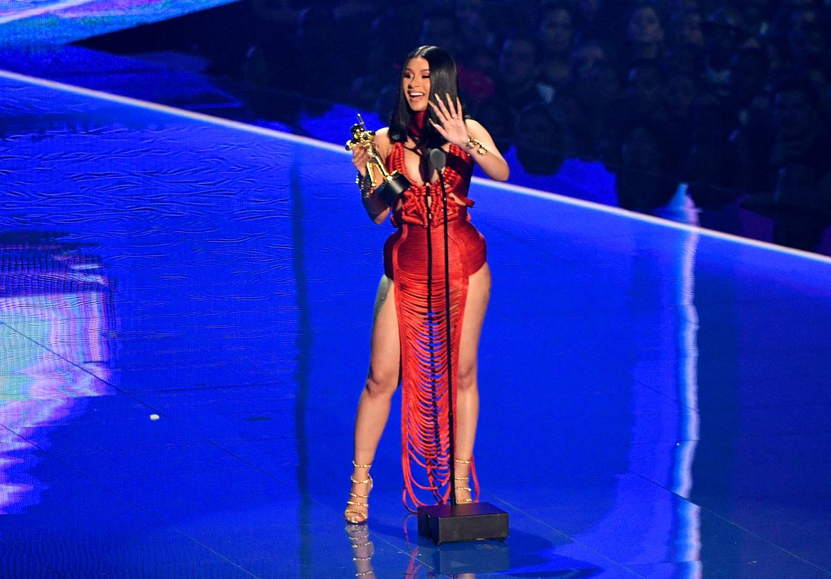 Cardi B speaks onstage during the 2019 MTV Video Music Awards at Prudential Center