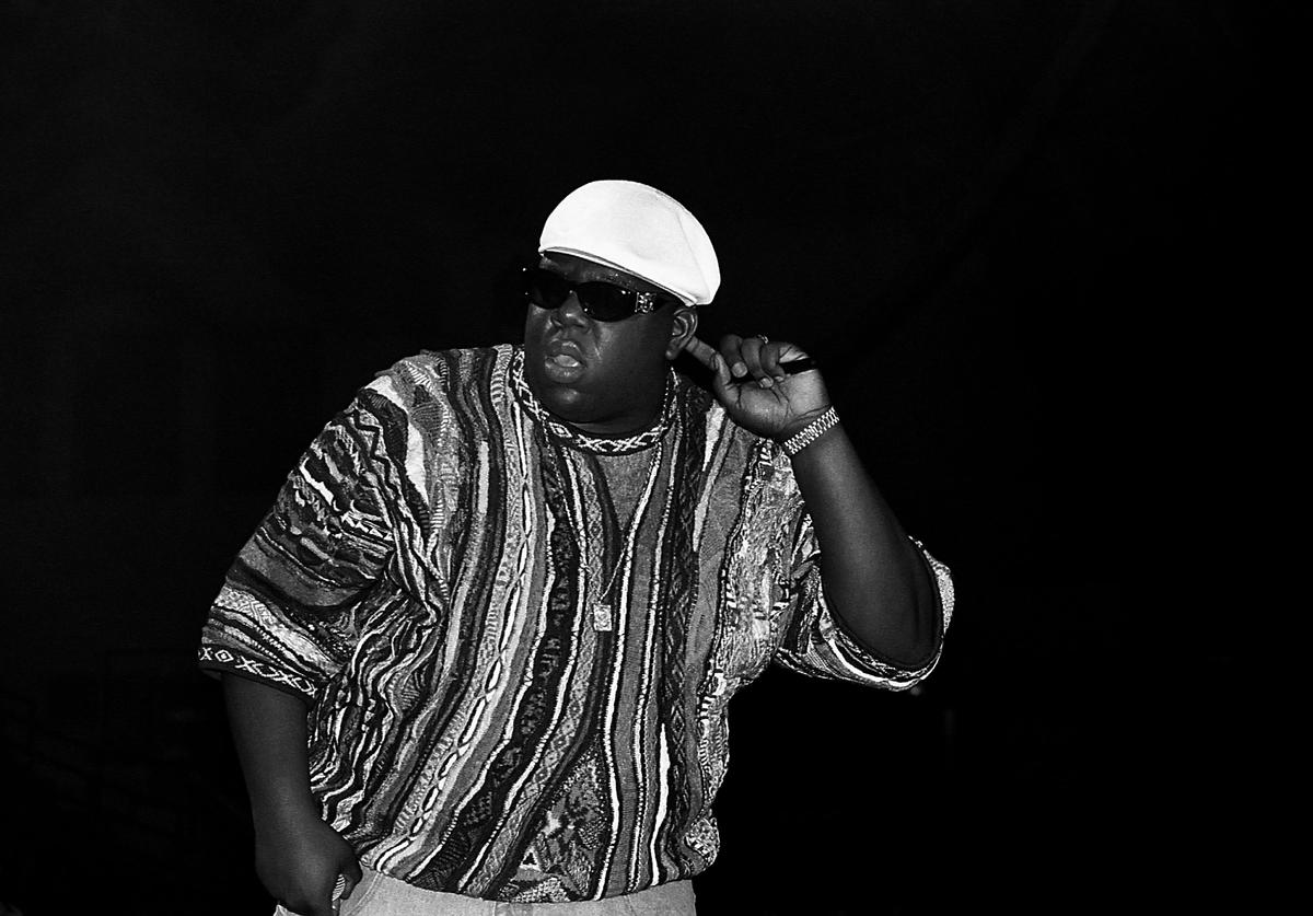 Rapper Notorious B.I.G. performs at the International Amphitheatre in Chicago, Illinois in April 1995.