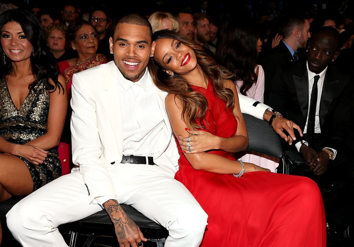 Chris Brown and Rihanna attend the 55th Annual GRAMMY Awards at STAPLES Center on February 10, 2013 in Los Angeles, California