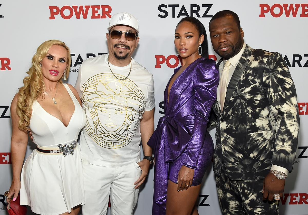 """Coco Austin, Ice T, Jamira, and 50 Cent at STARZ Madison Square Garden """"Power"""" Season 6 Red Carpet Premiere, Concert, and Party on August 20, 2019 in New York City"""