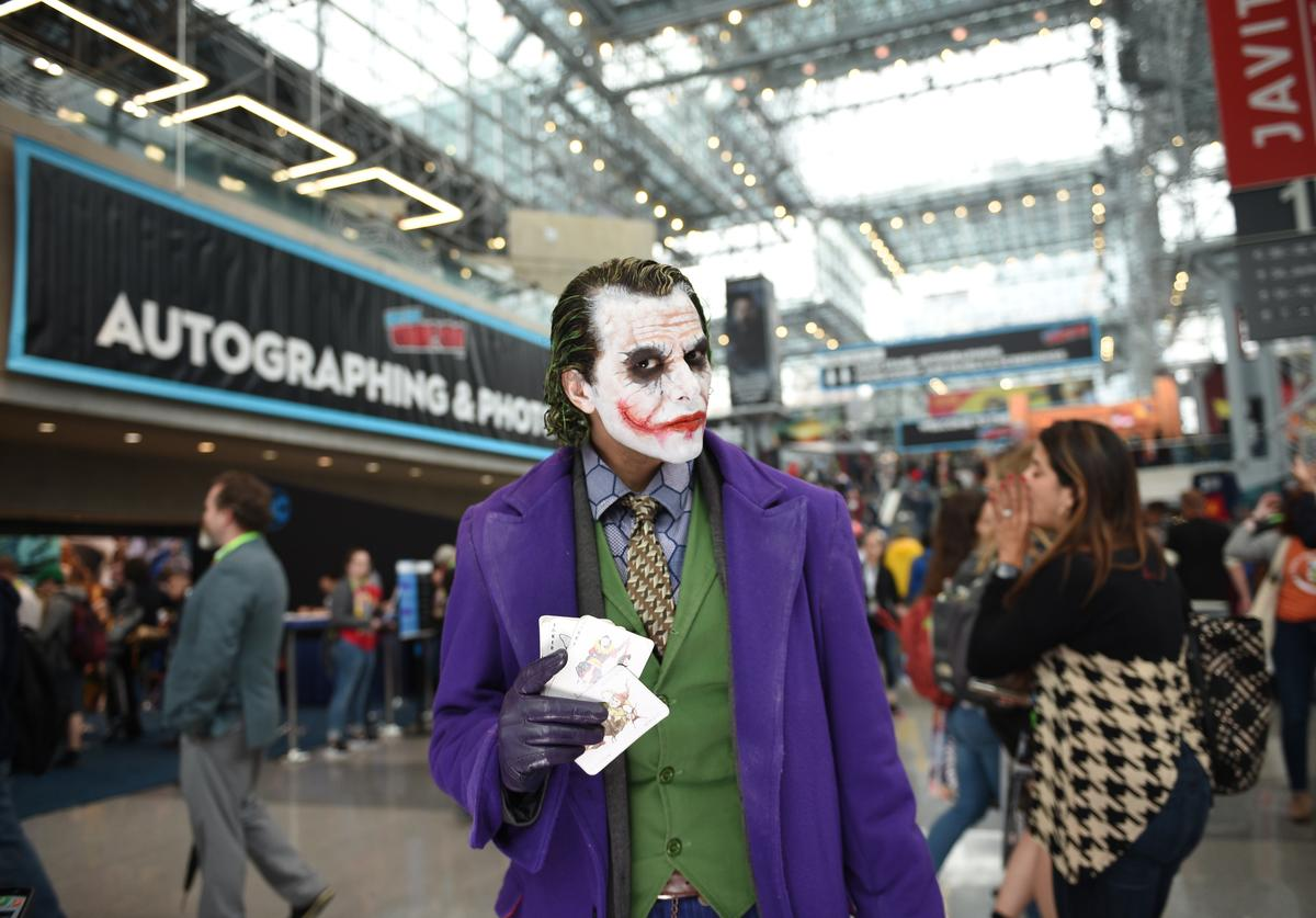 Cosplayer as Joker attends the New York Comic Con at Jacob K. Javits Convention Center on October 03, 2019 in New York City.