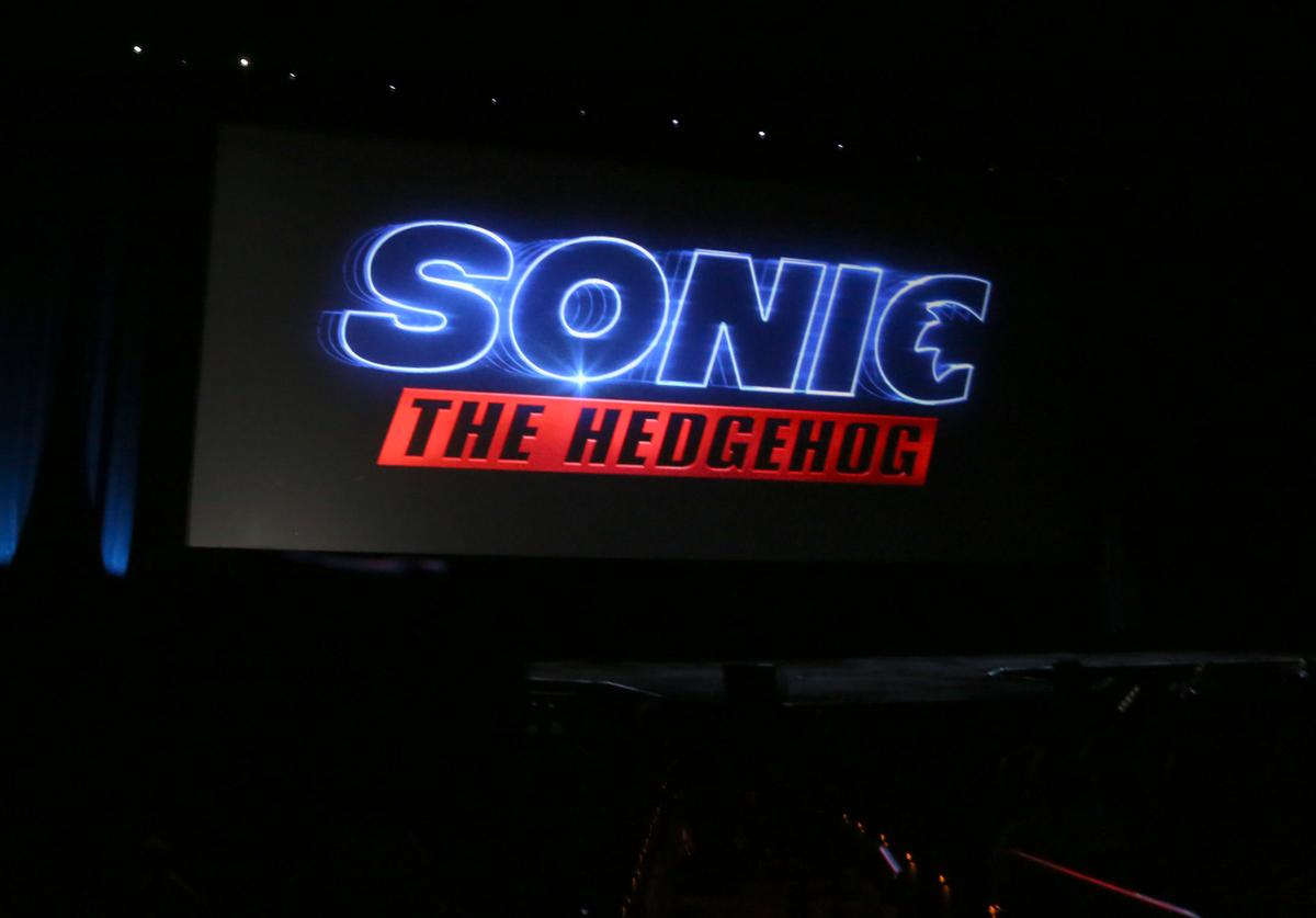 """A logo for the movie """"Sonic the Hedgehog"""" is displayed during Paramount Pictures exclusive presentation during CinemaCon at The Colosseum at Caesars Palace on April 04, 2019"""