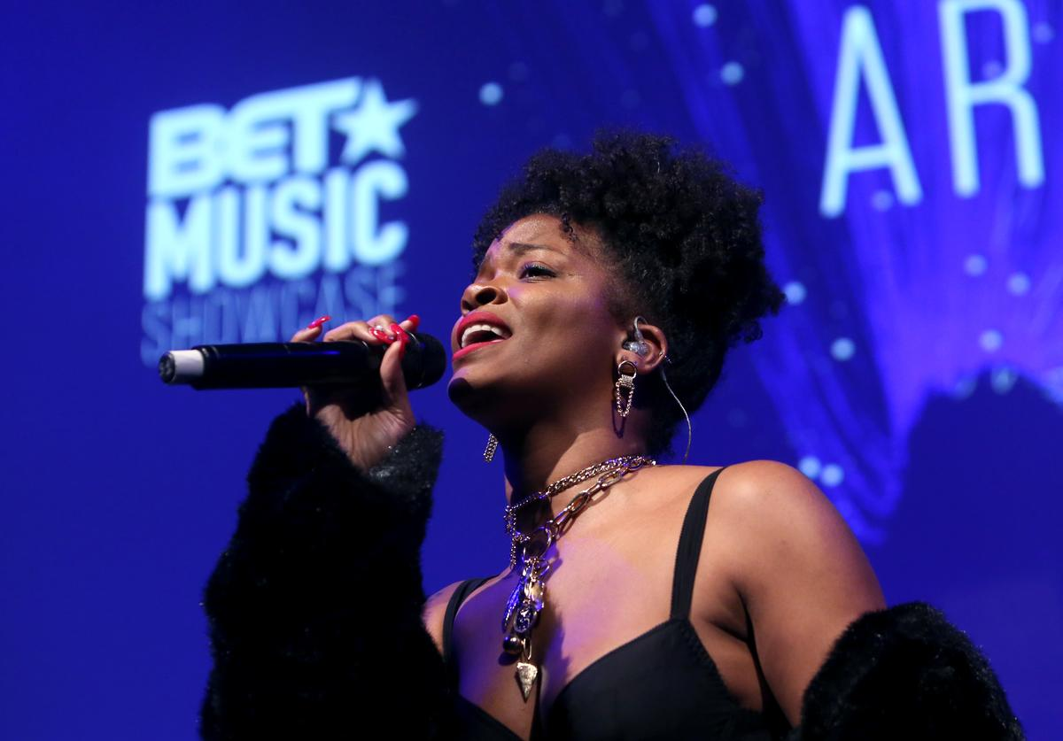 Ari Lennox performs on stage during BET music showcase Grammy Awards weekend at NeueHouse Hollywood on February 08, 2019 in Los Angeles, California