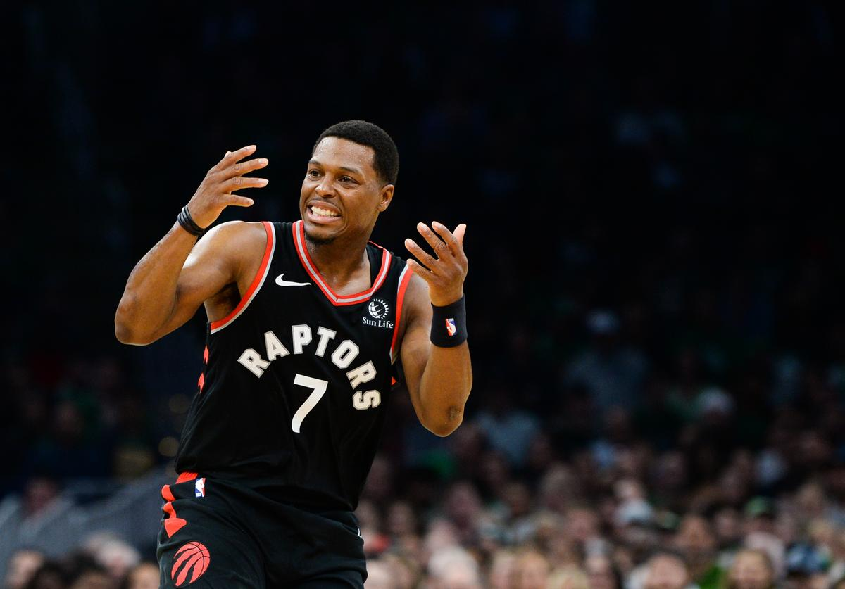 Kyle Lowry #7 of the Toronto Raptors reacts after a missed shot in the first half against the Boston Celtics at TD Garden on October 25, 2019 in Boston, Massachusetts.