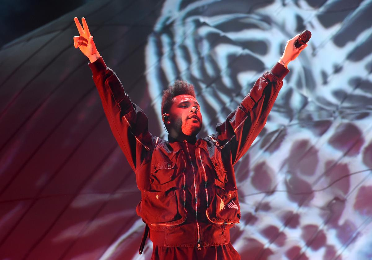 The Weeknd performing at Coachella