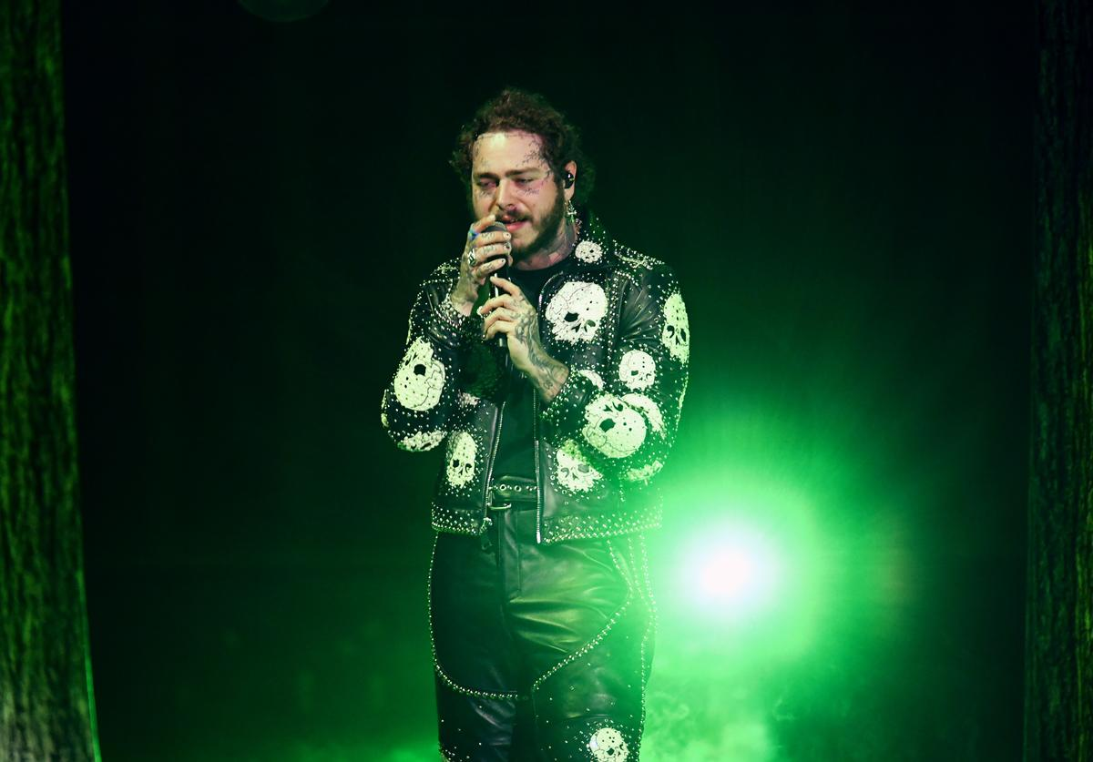 Post Malone performs onstage during the 2019 American Music Awards at Microsoft Theater on November 24, 2019 in Los Angeles, California