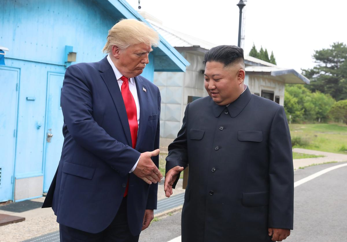 "A handout photo provided by Dong-A Ilbo of North Korean leader Kim Jong Un and U.S. President Donald Trump inside the demilitarized zone (DMZ) separating the South and North Korea on June 30, 2019 in Panmunjom, South Korea. U.S. President Donald Trump and North Korean leader Kim Jong-un briefly met at the Korean demilitarized zone (DMZ) on Sunday, with an intention to revitalize stalled nuclear talks and demonstrate the friendship between both countries. The encounter was the third time Trump and Kim have gotten together in person as both leaders have said they are committed to the ""complete denuclearization"" of the Korean peninsula."