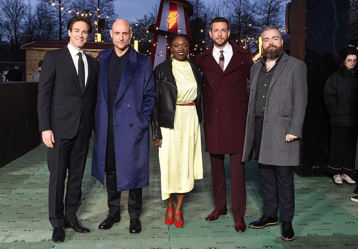 Peter Safran, Mark Strong, Andi Osho, Zachary Levi and David F. Sandberg attend the launch of the DC 'Shazam' Fun Fair photocall at Bernie Spain Gardens South Bank on March 20, 2019 in London, England.