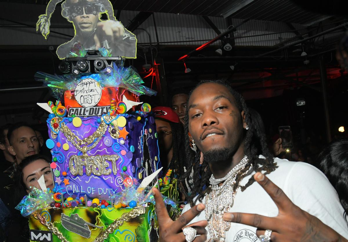 Migos' Offset celebrates birthday at 'Set Gala: Fun House Edition' with Call of Duty cake on December 13, 2019 in Downtown Los Angeles, California.