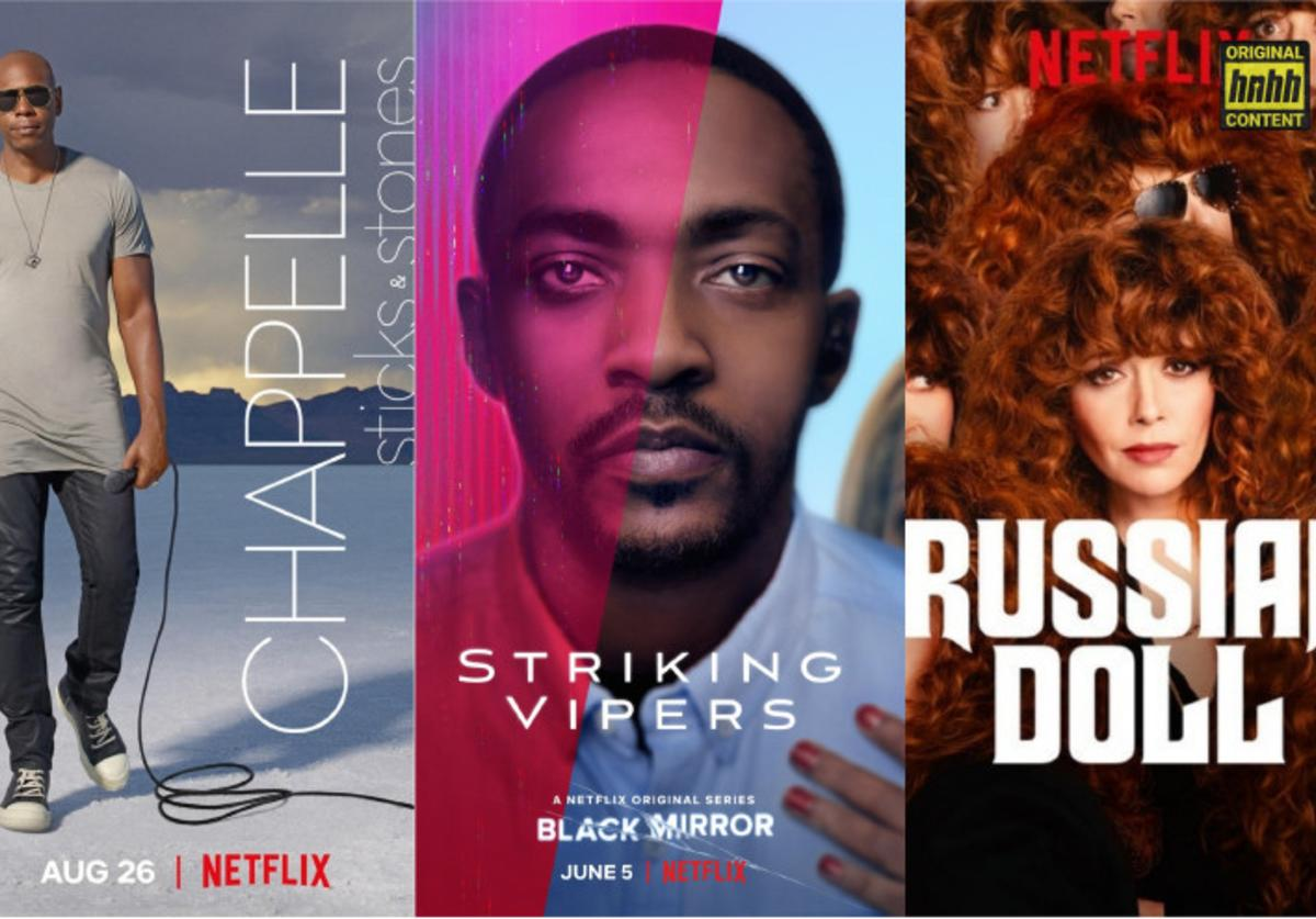 "Official posters: ""Sticks & Stones""; ""Black Mirror""; ""Russian Doll"" via Netflix"