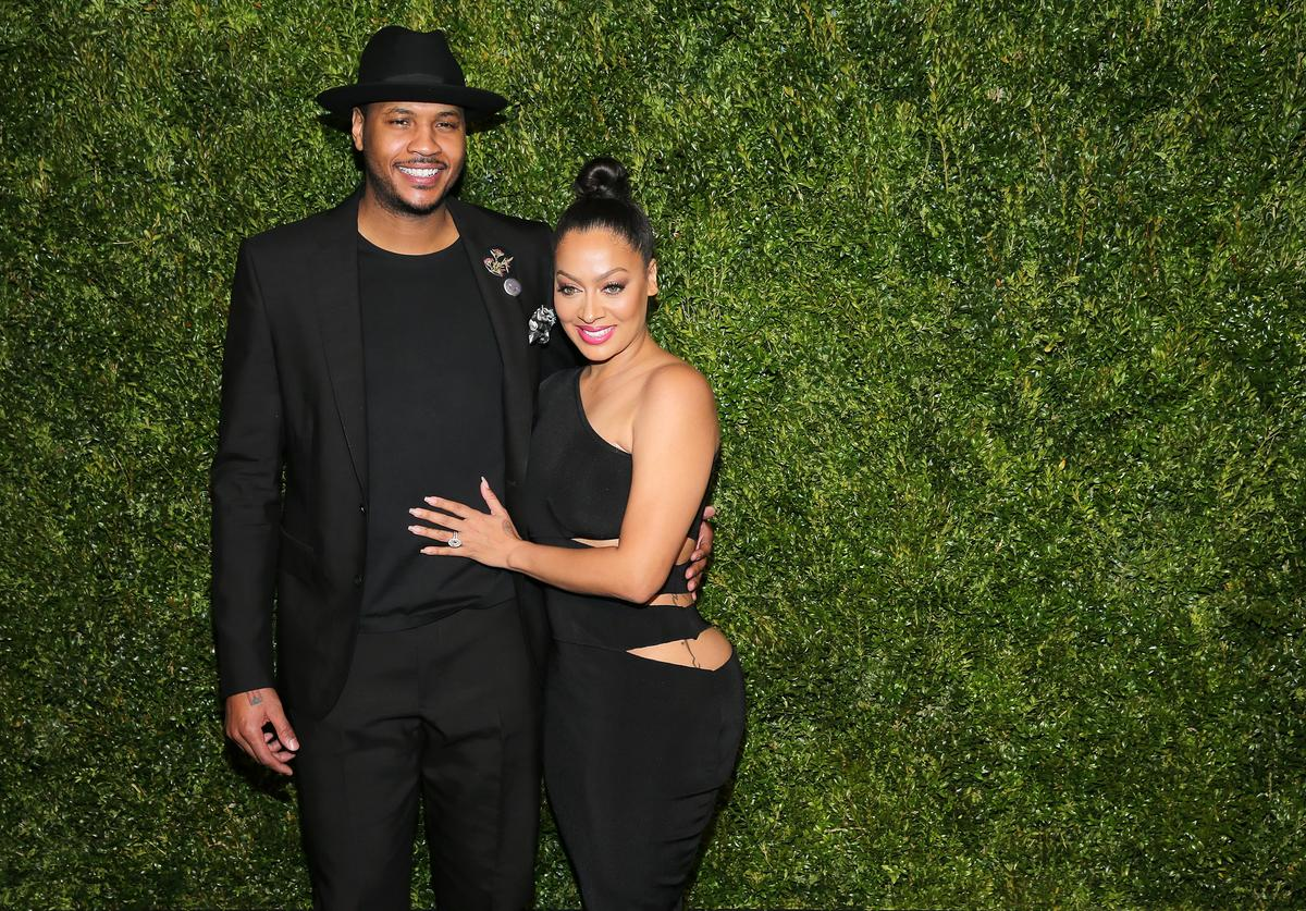 Carmelo Anthony and La La Anthony attend the 11th Annual Chanel Tribeca Film Festival Artists Dinner at Balthazar on April 18, 2016 in New York City.