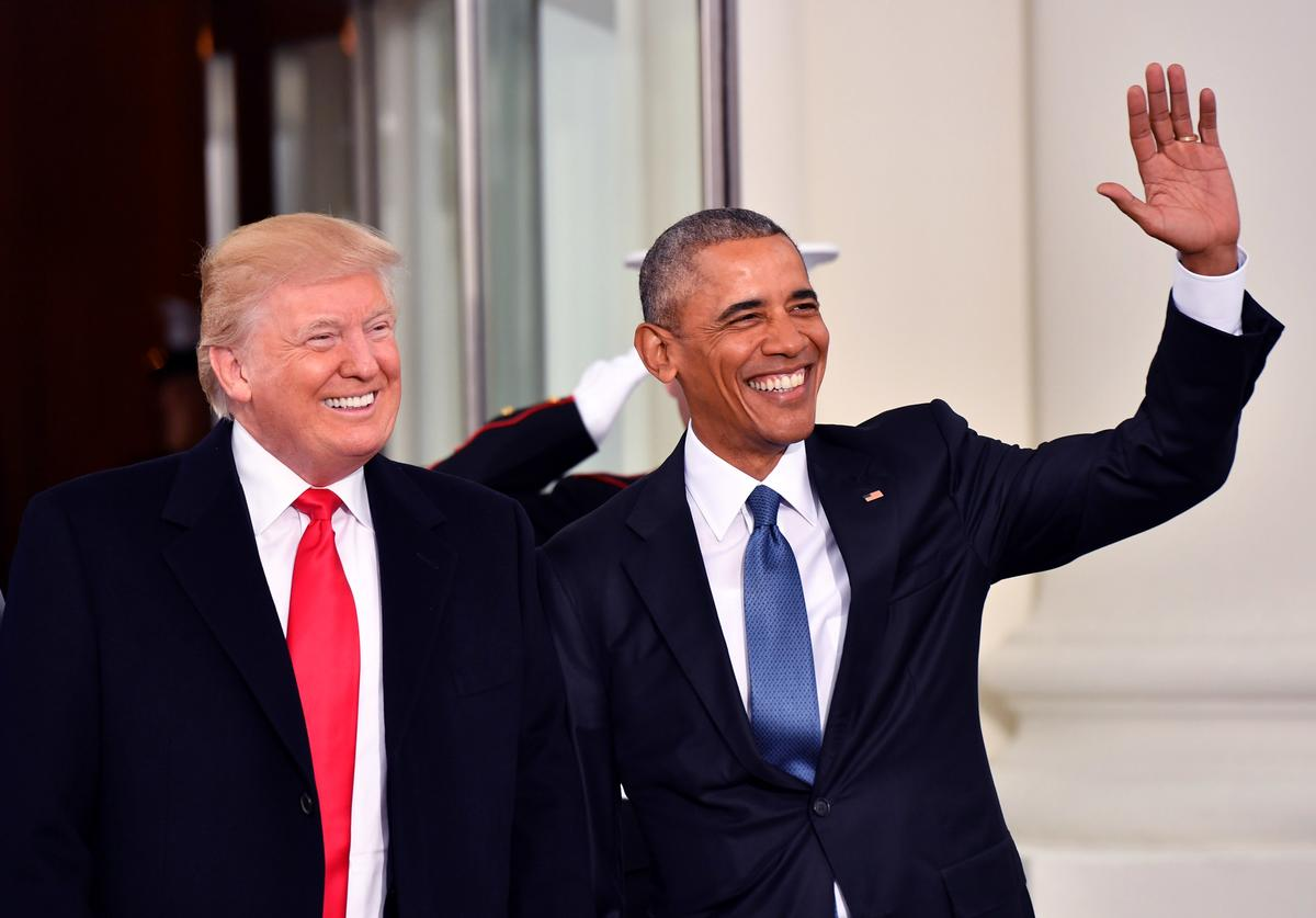 President Barak Obama (R) and President-elect Donald Trump smile at the White House before the inauguration on January 20, 2017 in Washington, D.C. Trump becomes the 45th President of the United States.