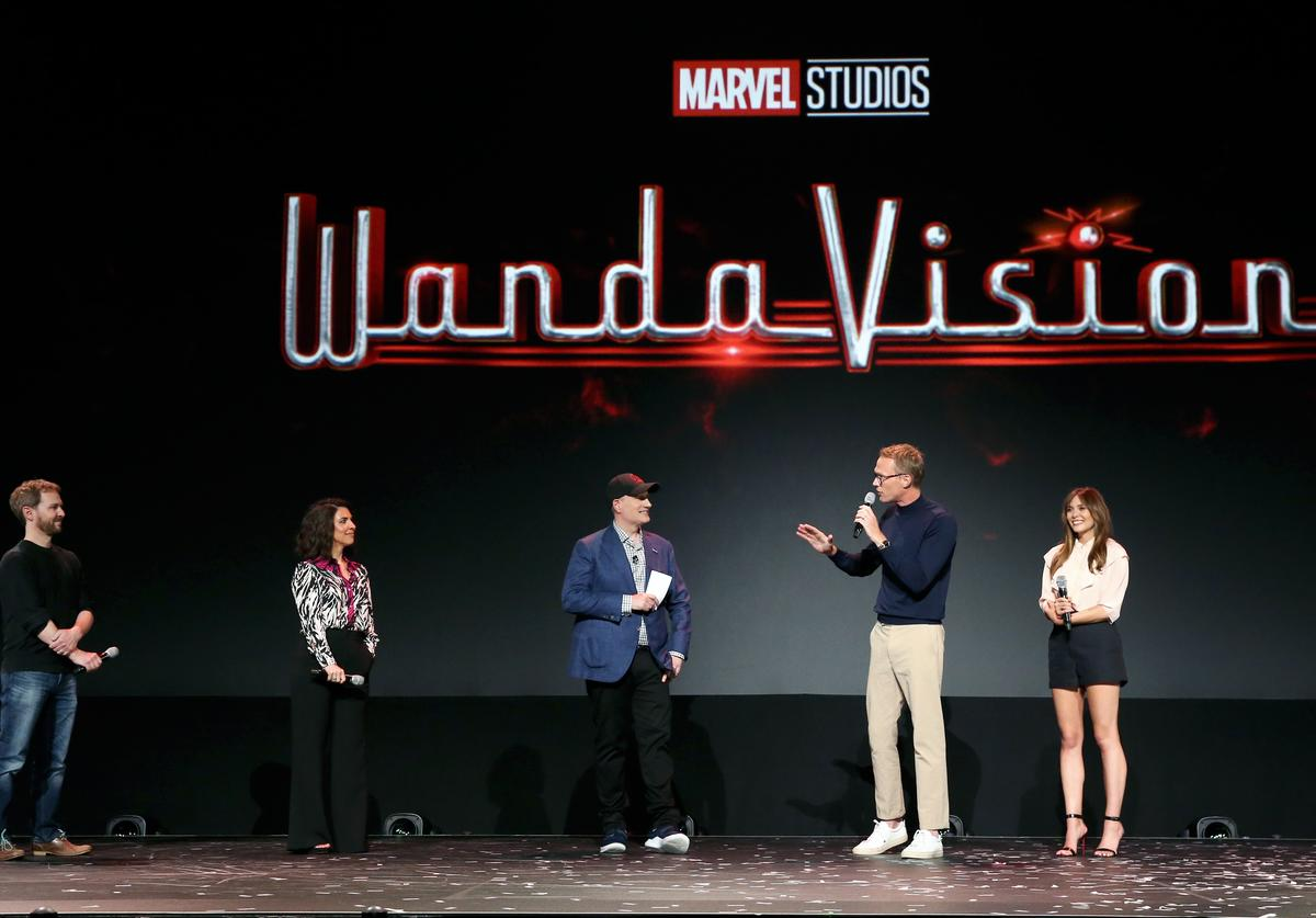 Director Matt Shakman and Head writer Jac Schaeffer of 'WandaVision,' President of Marvel Studios Kevin Feige, and Paul Bettany and Elizabeth Olsen of 'WandaVision' took part today in the Disney+ Showcase at Disney's D23 EXPO 2019 in Anaheim, Calif. 'WandaVision' will stream exclusively on Disney+, which launches November 12.
