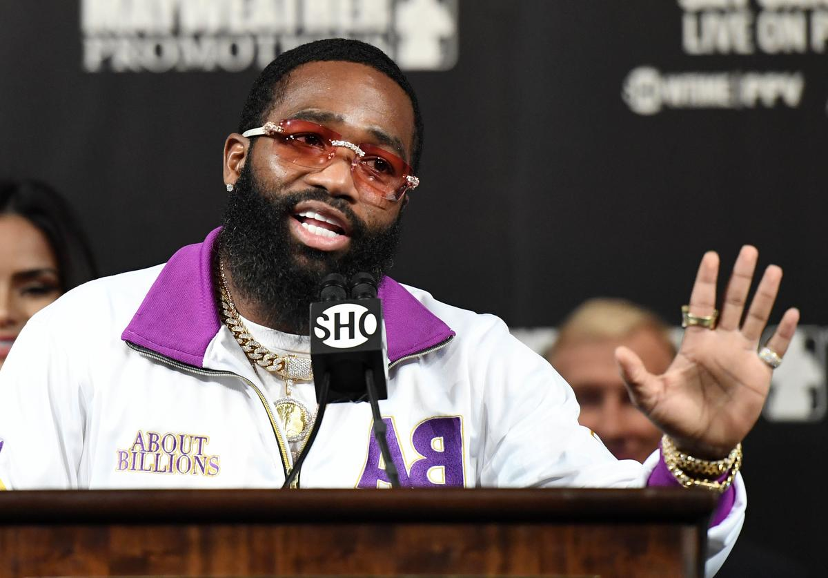 Adrien Broner speaks during a news conference at MGM Grand Hotel & Casino on January 16, 2019 in Las Vegas, Nevada. Broner will challenge WBA welterweight champion Manny Pacquiao for his title on January 19 at MGM Grand Garden Arena in Las Vegas.