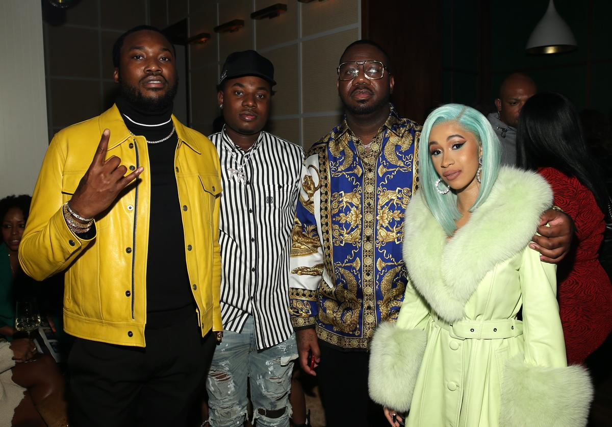 """Meek Mill, Rapper Marlo, Quality Control's Pierre """"Pee"""" Thomas and Rapper Cardi B attend the Billboard 2018 R&B Hip-Hop Power Players event at Legacy Records on September 27, 2018 in New York City"""