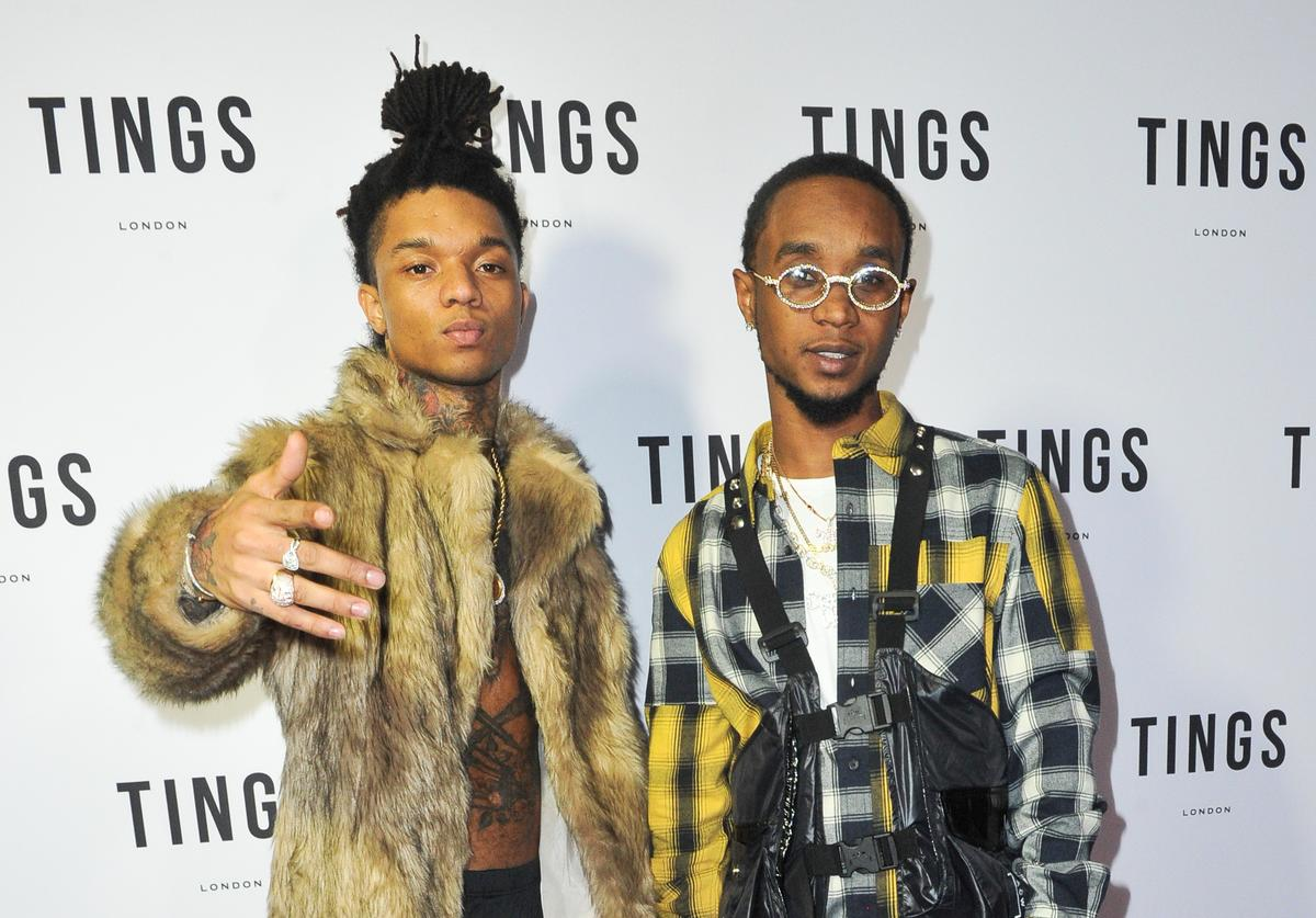 Swae Lee (L) and Slim Jxmmi, of Rae Sremmurd, host 'TINGS Magazine Issue 2 Launch Event' at 1OAK on December 15, 2018 in West Hollywood, California