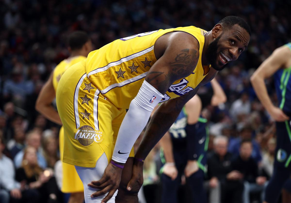 LeBron James #23 of the Los Angeles Lakers smiles during play against the Dallas Mavericks at American Airlines Center on January 10, 2020 in Dallas, Texas. NOTE TO USER: User expressly acknowledges and agrees that, by downloading and or using this photograph, User is consenting to the terms and conditions of the Getty Images License Agreement.